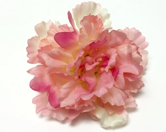Silk Flowers - One Satiny Peony in Shades of Pink - 6 Inches - Artificial Flowers