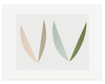 Abstract screenprint / pretty pastel colours, 'In the Garden', a handmade original work on paper by Emma Lawrenson. Original printmaking