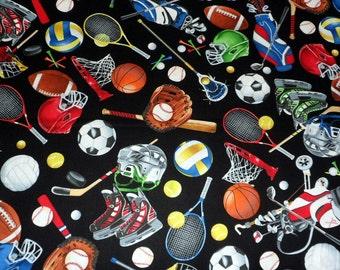 Team Sports Fabric Football Fabric Basketball Fabric Tennis Fabric Cotton Fabric Sewing Supplies Quilting Fabric Sports Fabric