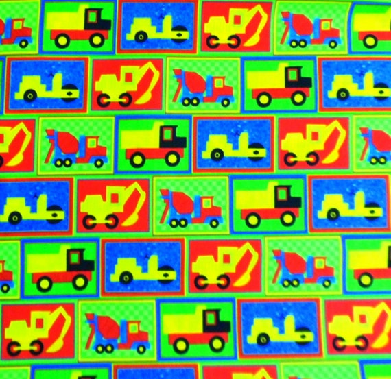 Truck fabric blue green yellow fabric cotton fabric henry for Little blue truck fabric