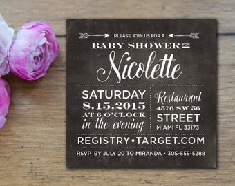 Square Chalkboard BABY OR BRIDAL Shower Invitation