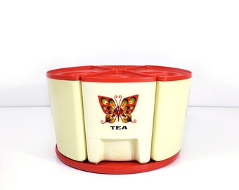 Vintage canister set - Lazy susan turntable kitchen storage - Sterilite butterfly canisters
