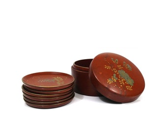 Vintage red lacquerware coasters in box