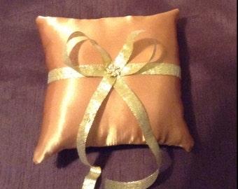 Gold custom made ring bearer pillow