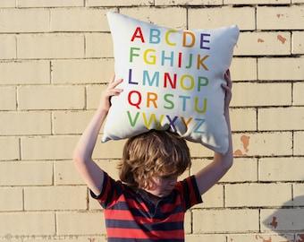 Alphabet throw pillow cushion. 18x18 inch. Nursery decor, Bright colorful ABC pillow, ABC cushion.  Professionally printed soft fabric