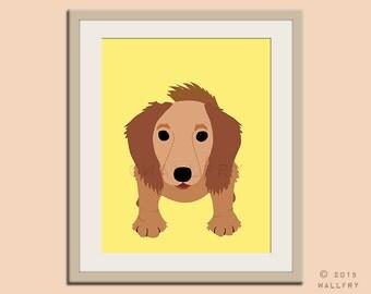Long haired Dachshund print puppy dog nursery decor. Dog nursery print. Doxie, Sausage dog, weiner dog. Art print by WallFry