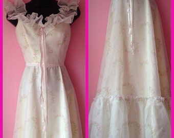 Vintage Sweet Long Floral Prairie Princess Dress Size Small