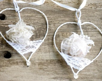 20% Off- Lace Wedding garland 4 hearts, Wedding romantic decor, Wedding Shabby Chic decor, Gift hearts Ornaments ,Personalized lace garland.