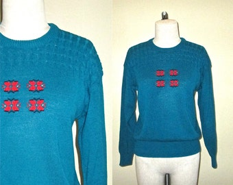 Vintage 80's sweater teal and red PREPPY CABLEKNIT long sleeved hipster - S/M
