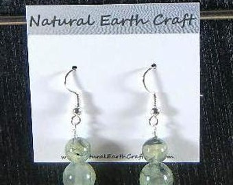 Green yellow prehnite earrings prehnite with tourmaline spars semiprecious stone jewelry packaged in a colorful gift bag 2864