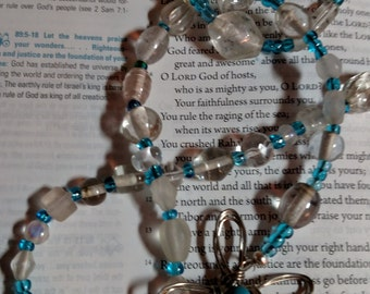 R070 Clear Blue Glass Traditional 5 Decade Catholic Rosary