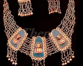 Egyptian Brass Blue Enameled King Tutankhamun Earrings And Necklace Set