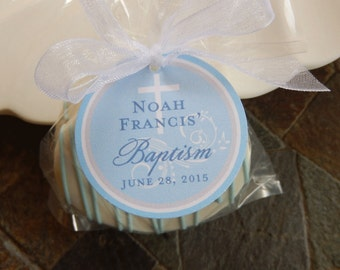 "Christening and Baptism Custom Favor Tags - For Cake Pops - Lollipops - Cookies - Desserts - Party Favors - (40) 1.5"" Personalized Tags"