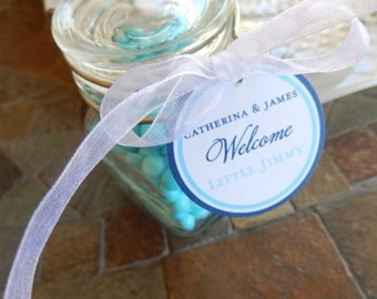 "Welcome Baby Custom Paper Thank You Favor Tags - For Cake Pops - Cookies - Baby Shower Favors - (30) 2"" Personalized Circle Printed Tags"