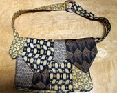 Silk Purse Made from Recycled Ties in Gold, Blue, Brown and Little Dogs