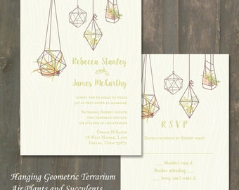 Wedding Invitation and RSVP - Hanging Geometric Terrarium with Air Plants and Succulents - Printed - Digital Version Available