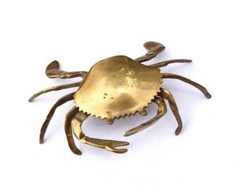 Brass crab ash tray jewelry box hidden storage trinket box home decor