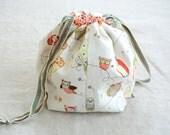 small knitting project bag sock sack (socksack) - bright owls
