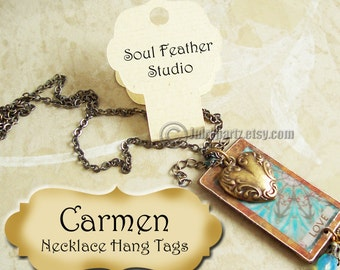 36•CARMEN•Hang Tags•2x3•Necklace Cards•Necklace Display•Fold Over Tag