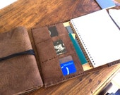 Suffolk journal, notebook organizer with pockets, pocket leather journal, travel organizer notebook, refillable, book cover, Aixa book maker