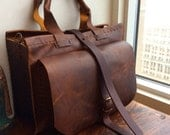 Essex tote, handmade leather bag, brown leather laptop tote, structured work tote, women's leather bags & handbags handmade by Aixa Sobin