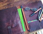 Downtown notebook, handmade leather journal, iPad air notepad/Moleskine case, leather notebook holder 7x10.5 handsewn by Aixa Sobin, maker