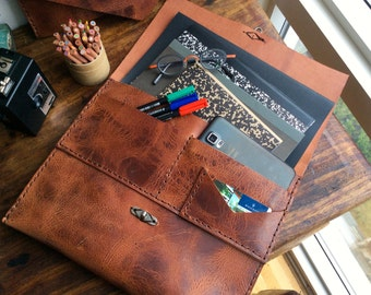 Laptop Clutch MacBook Case Organizer, Laptop Sleeve, Leather Laptop iPad Envelope Sleeve with Pockets Custom Made in NY