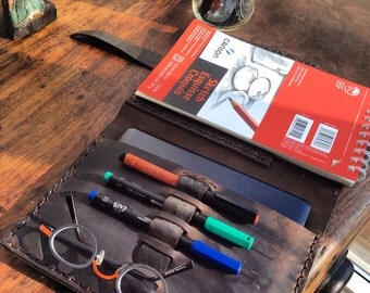 WilletSt sketchpad, iPad mini folio notepad, leather padfolio, mini sketchpad/pencil holders, hand sewn folios and sketchbooks by Aixa Sobin