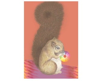 Squirrel Art Mixed Media Print- Cute Animal Artwork
