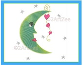 Moon with Hearts Machine Embroidery Design in 3 sizes Night Stars Love Nursery Children Storybook