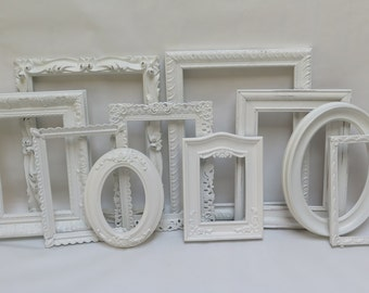 Custom Picture Frame Set 10 White frames lightly distressed with glass for picture gallery wall