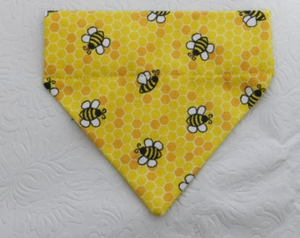 Blissfully Bumble Bee. Adorable Yellow Honey Comb Bee Bug Insect Bee Hive Theme! Dog Cat Ferret Reversible 2 in 1 Over the Collar Bandana.