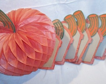 "SALE!!! Price REDUCED!! 7 Vintage 50's/60's Pumpkins w stems-Halloween or Thanksgiving-Honeycomb-11"" dia"