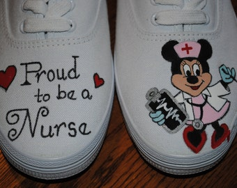 """For Sale New Nurse design """" Proud to be a Nurse""""  Minnie Mouse cute hand painted sneakers size 9"""