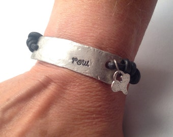 Rowers bracelet in silver and leather