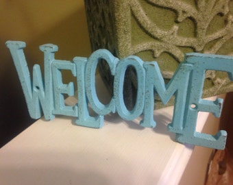 Welcome Sign/ Cast Iron Wall Decor/ WeLCoMe Sign Decor, Home and Garden/Housewarming Gift/ HarDWAre IS inCLUded