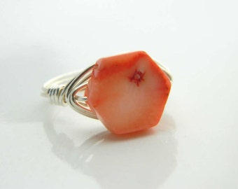 Coral Ring. Size 4.25 - Coral Gemstone, Peach Coral, Orange, Apricot, Fresh Coral, Hexagon, Jewelry Rings, Anillo, Girls, Kids, Silver Rings