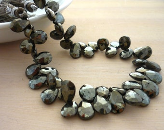 Mystic coated black spinel faceted pear briolette beads 9-10mm 1/4 strand