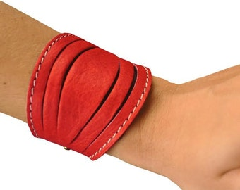 Leather bracelet in red leather , named Lela MADE TO ORDER