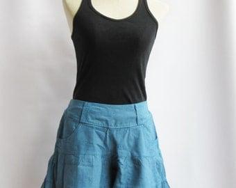 P3, Blue Summer Sea Beach Cotton Skorts, Blue shorts