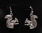 Squirrel Earrings, Animal Jewelry, Wildlife Jewelry, earrings, Squirrel,  Antique Silver Tone  Earrings