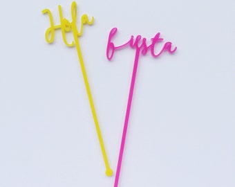 Hola, Fiesta, Salud, Celebrar, Swizzle Sticks, Stir Sticks, Drink Stirrers Laser Cut, Acrylic, 6 CT.
