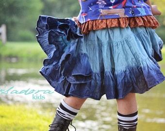 Girl's dip dyed blue twirly skirt