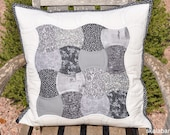 Black, White and Grey Apple Core Quilted Pillow Cover Ready to Ship