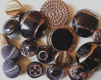 16 Assorted Vintage Black Glass Buttons w/ Gold Luster