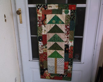 Christmas Tree table runner quilted runner holiday wall hanging handmade table runner