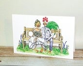 Wedding Card Bride and Groom Happy Together I DO Garden Bench illustration Anniversary