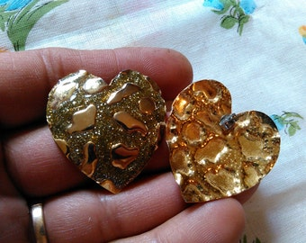 Vintage Costume Jewelry Pierced Earrings Golden Hearts Big With Enameled Glittered Design