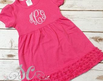 Pink or Lavender Ruffle Dress Monogram
