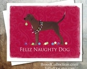 Redbone Coonhound Dog Christmas Card from the Breed Collection - Digital Download  Printable